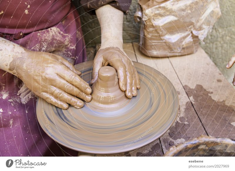 Traditional potter Bowl Handicraft Work and employment Man Adults Art Touch Make Dirty Wet Brown Idea Creativity Potter pottery Clay wheel ceramic skill Molding