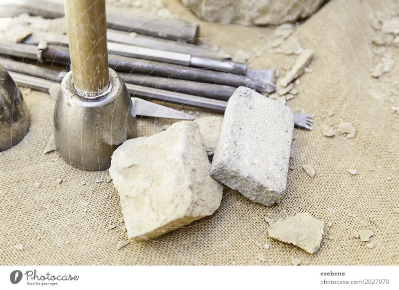 Stone carving tools House (Residential Structure) Profession Industry Tool Hammer Hand Concrete Steel Old Dirty White Tradition masonry chisel stonemason
