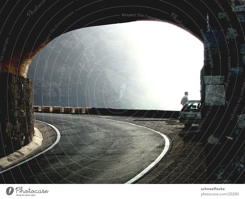 Rock tunnels on the coast of Tenerife Driving Coast Europe Street Car