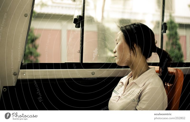 rest Human being Feminine Woman Adults Life Head 1 18 - 30 years Youth (Young adults) Black-haired Braids Old Breathe Sit Relaxation China Xian Chinese Bus