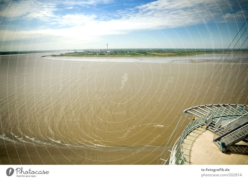 North German Amazon Water Sky Clouds Beautiful weather Waves Coast River bank North Sea Island Bremerhaven Weser mouth of the Weser flexing Port City Tower