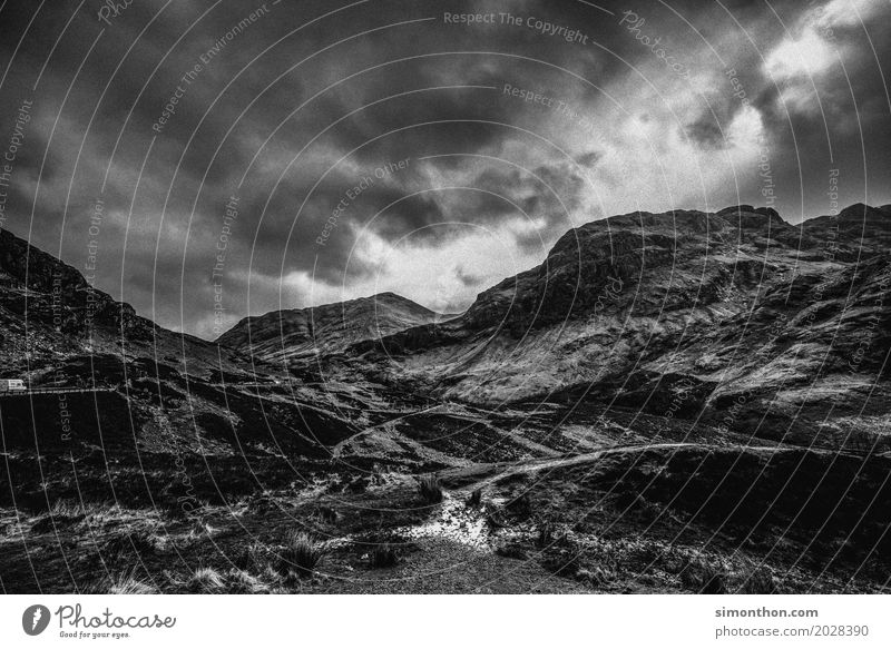 Scotland Environment Nature Landscape Elements Clouds Storm clouds Climate Bad weather Wind Gale Rain Rock Mountain Peak Esthetic Threat Dark Gigantic Large