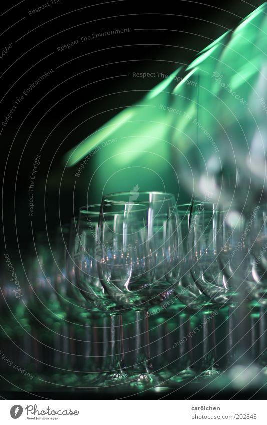 Green Gray Glittering Glass Empty Clean Row Wine glass Beaded Unused