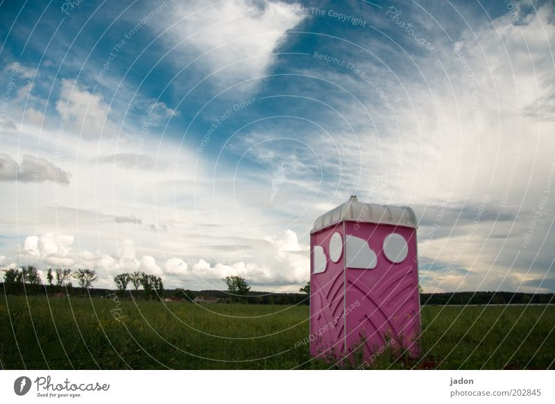 there are places Clouds Field Plastic Sharp-edged Pink Cleanliness Toilet Exterior shot Deserted Copy Space top Rental toilet Environmental protection