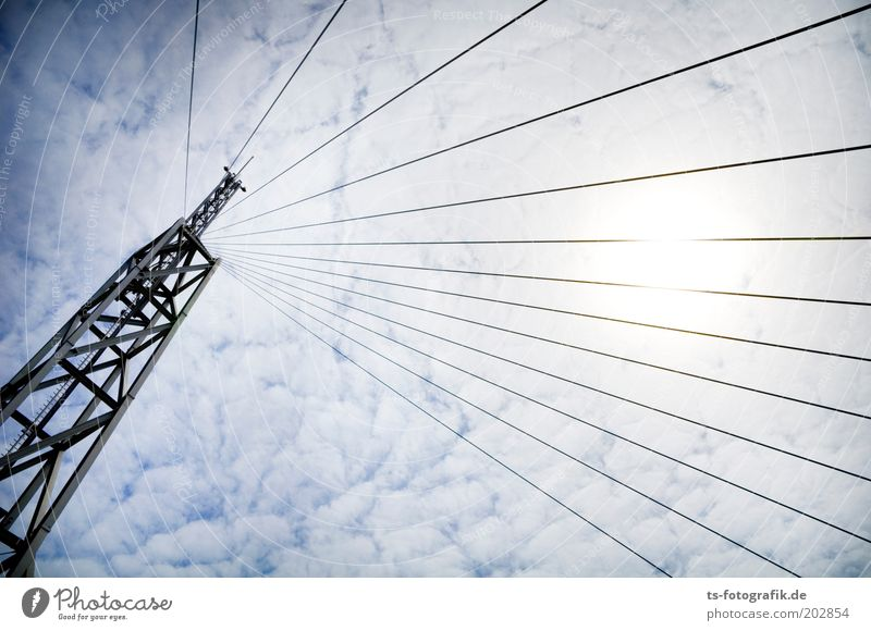 Sky Sun Clouds Line Metal Tall Perspective Technology Media Telecommunications Tower Exceptional Steel Radiation Manmade structures
