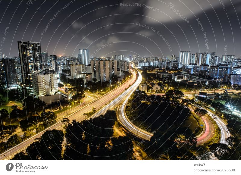 light arch Singapore Skyline High-rise Highway Movement Energy Speed Society Life Modern Town Change Lanes & trails Night life Exterior shot Copy Space top