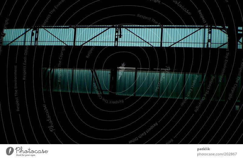 Old Blue Black Dark Cold Hall Industrial plant Steel carrier Glazed facade Crossbeam Steel construction Bluish