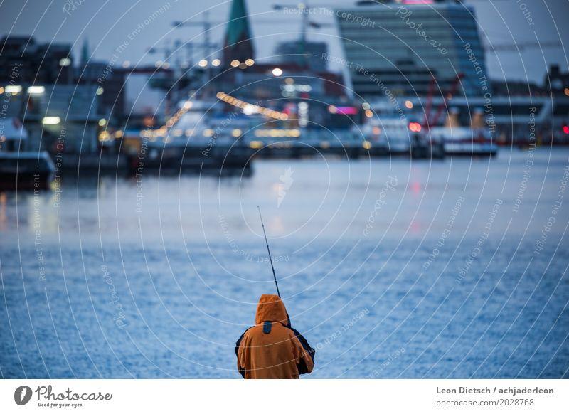 Angler at the Kiel Fjord #1 Leisure and hobbies Fishing (Angle) Human being Water River Town Navigation Inland navigation Watercraft Harbour Jacket Rain jacket