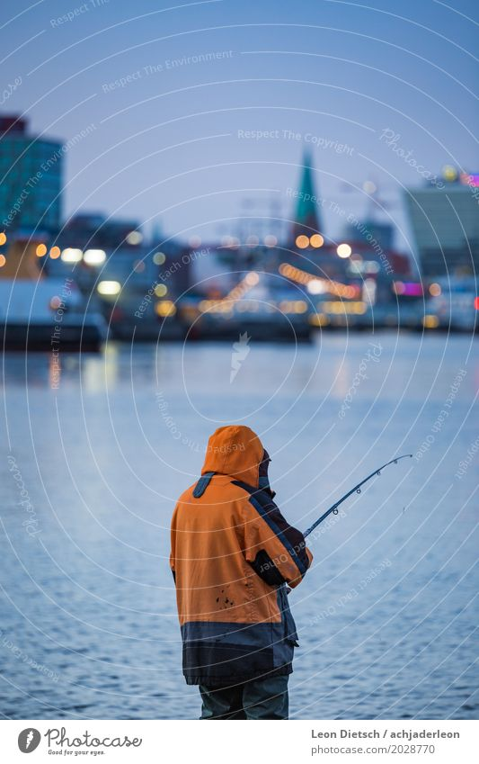 Angler at the Kiel Fjord #3 Leisure and hobbies Fishing (Angle) 1 Human being Kieler Förde Skyline Navigation Inland navigation Watercraft Jacket Catch Wait