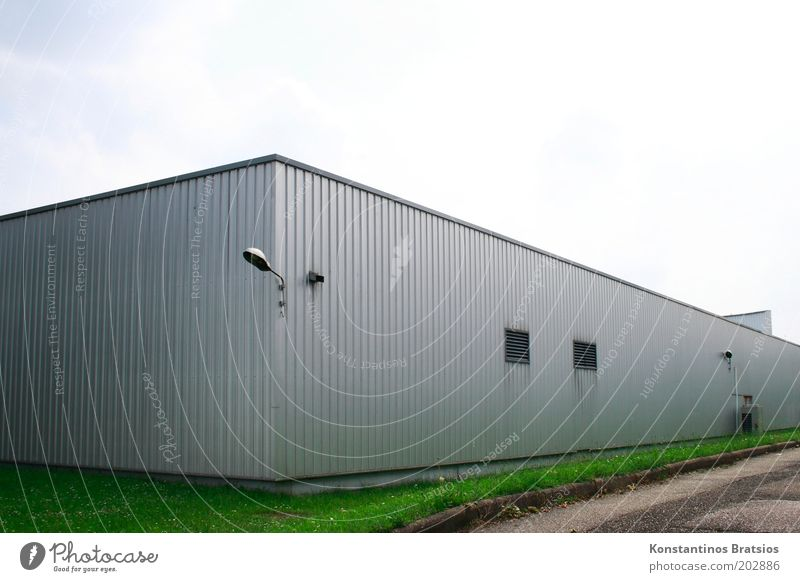 warehouse Sky Cloudless sky Grass Meadow Building Warehouse Hall Facade Window Exterior lighting Simple Gray Green Silver Cladding Metal Stock of merchandise