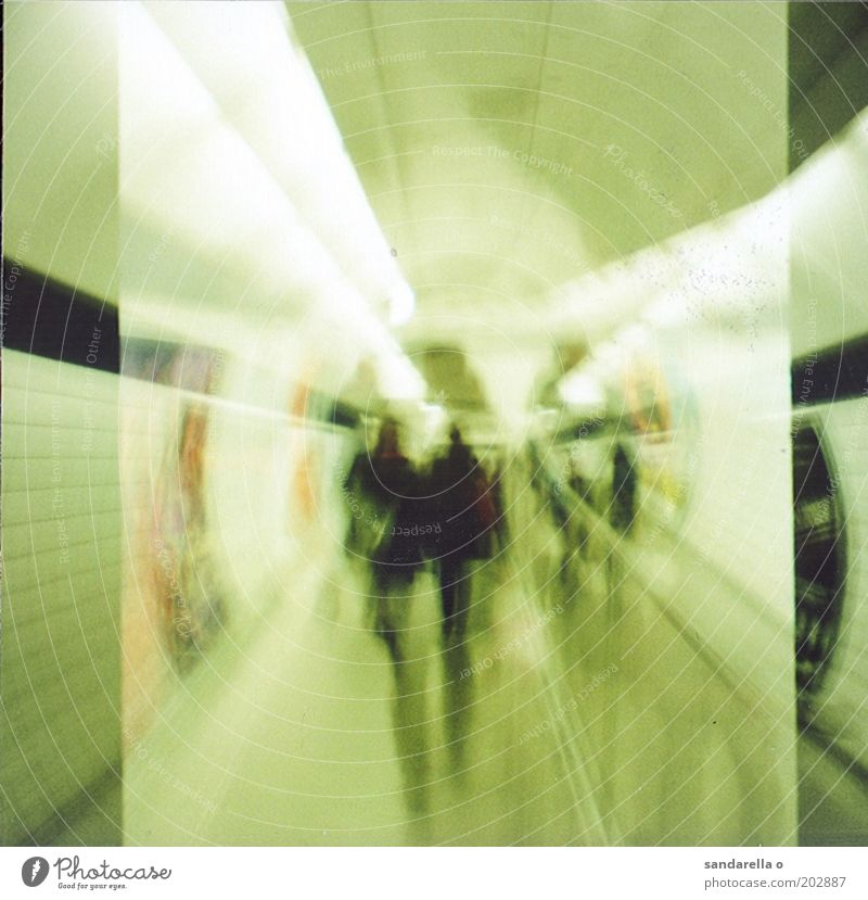 tube Human being Underground Subdued colour Interior shot Experimental Lomography Artificial light Motion blur Central perspective Subway station