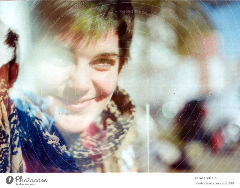 Human being Youth (Young adults) Feminine Happy Adults Joie de vivre (Vitality) Smiling Scarf Joy Portrait photograph Lomography Experimental 18 - 30 years