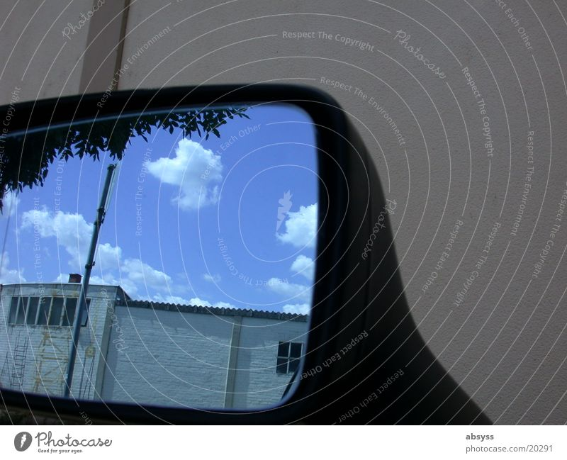 Sky Sun Blue Clouds Wall (building) Car Mirror Photographic technology