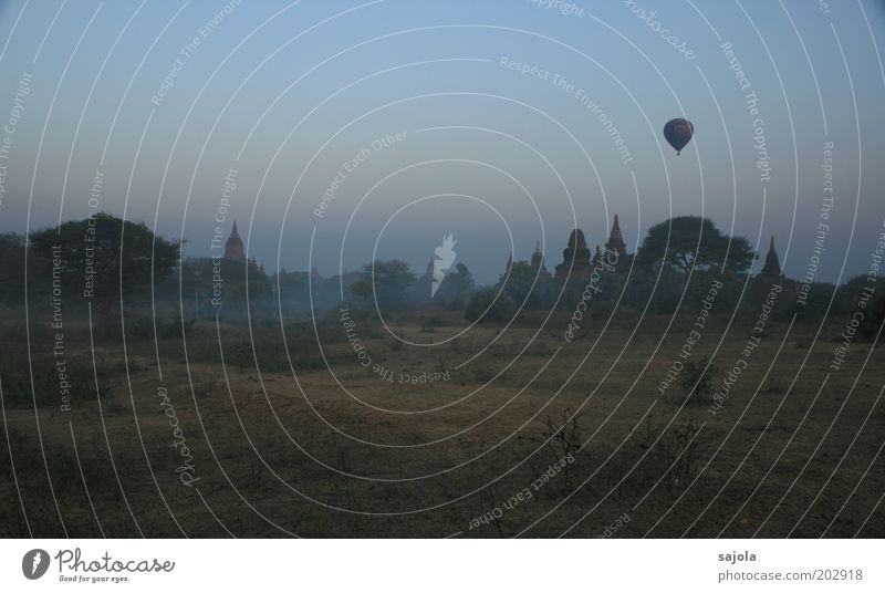 Nature Vacation & Travel Dark Landscape Religion and faith Fog Environment Flying Tourism Asia Hot Air Balloon Tourist Attraction Temple Myanmar Morning Shroud of fog
