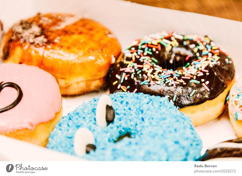 Funny Colorful Donuts In Box Blue Colour Eating Food Brown Pink Nutrition Fresh Sweet Round Frost Delicious Candy Turquoise Dessert