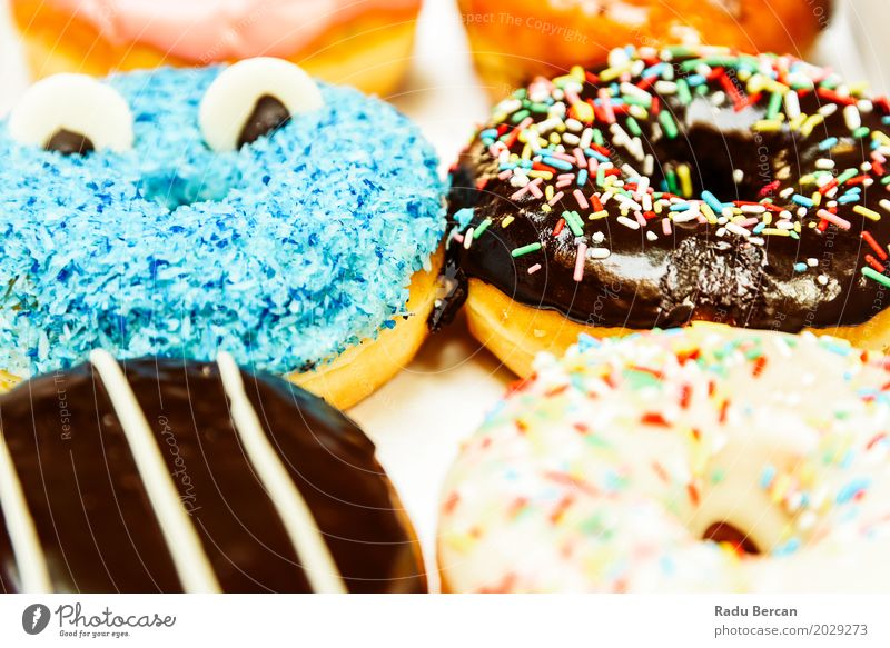 Funny Colorful Donuts In Box Food Dough Baked goods Dessert Candy Nutrition Eating Breakfast Fast food To feed Feeding Happiness Fresh Delicious Round Sweet