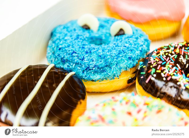 Funny Colorful Donuts In Box Food Dough Baked goods Dessert Candy Chocolate Nutrition Eating Fast food To feed Feeding Fresh Delicious Cute Round Sweet Blue