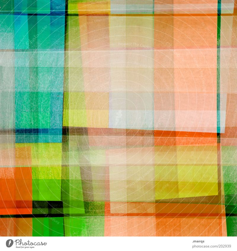 intermezzo Design Multicoloured Yellow Green Chaos Colour Whimsical Orange Checkered Double exposure Colour photo Abstract Pattern Structures and shapes