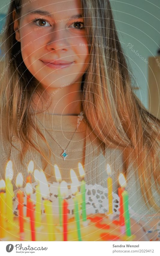 Happy Birthday Cake Candle Youth (Young adults) Gateau Nutrition Party Feasts & Celebrations Feminine Woman Adults Family & Relations Friendship 1 Human being