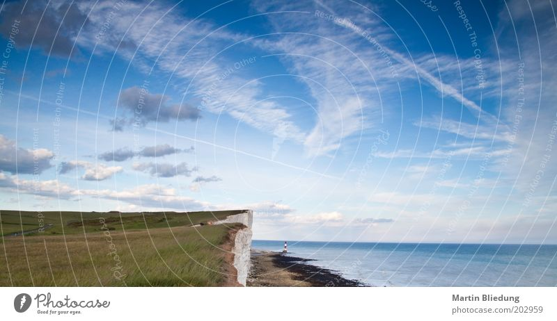 Beachy Head Vacation & Travel Ocean Landscape Elements Sky Clouds Beautiful weather Wind Rock Coast North Sea Lighthouse Free Gigantic Infinity Original Moody