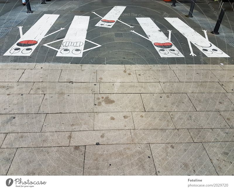 crash Art Work of art Red Black White Fear Zebra crossing Pedestrian crossing Face Panic Street art Lanes & trails Footpath Paving stone Emotions Colour photo