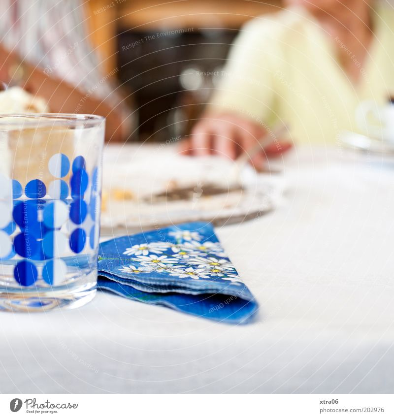 schwiegeroma had birthday Human being Moody Glass Napkin Cake server Hand Table Banquet Blue Colour photo Interior shot Copy Space bottom To have a coffee