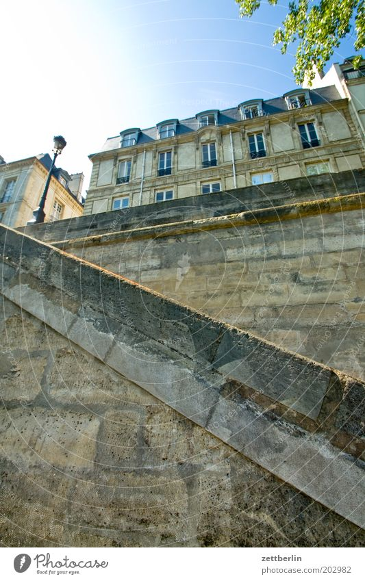 Greater Leipzig Paris France Seine Jetty Mole Granite Sandstone Stone Wall (barrier) Stairs House (Residential Structure) Facade Front side Glazed facade