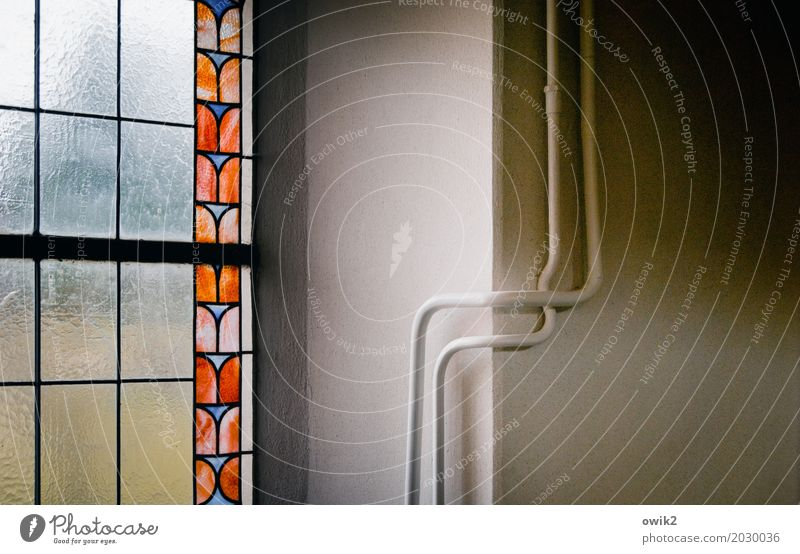 We stick together Church Wall (barrier) Wall (building) Church window Heating pipe Curved Elegant 2 In pairs At right angles Corner Glass Metal Thin Firm