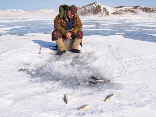 ICE FISHING BAIKAL Fishing (Angle) Adventure Masculine Man Adults 30 - 45 years Lake Lake Baikal Jacket Observe Catch Crouch Hunting Sit Wait Authentic Happy