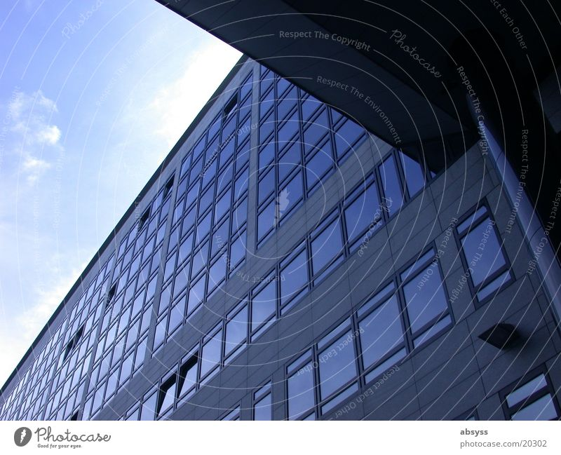 View Angle Building Stuttgart Window Architecture Modern Sky Blue Sun Beautiful weather Glass reflection