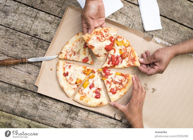 Pizza Meat Cheese Eating Dinner Lifestyle Joy Happy Summer Woman Adults Man Friendship Hand Group Nature Park Street Happiness Fresh Together Hot Delicious