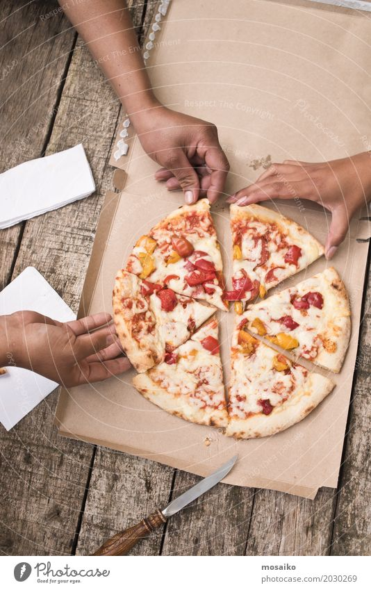 eating pizza Fast food Finger food Italian Food Lifestyle Joy Summer Human being Woman Adults 3 Park To enjoy Fairness Equal Pizza Salami Mozzarella Top Snack