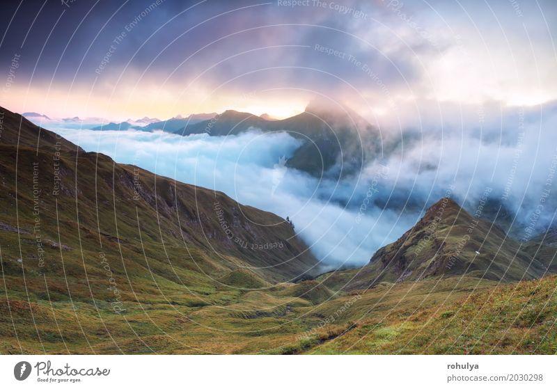 foggy sunrise over mountain peaks, Alps Mountain Nature Landscape Clouds Sun Sunrise Sunset Autumn Fog Meadow Rock Blue Alpine cloudscape Grassland