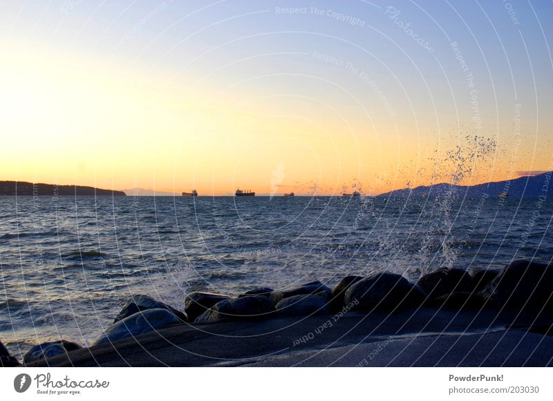 Nature Water Summer Calm Far-off places Landscape Coast Waves Environment Drops of water Horizon Transport Harbour Illuminate Canada Navigation