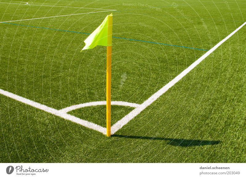 White Green Yellow Sports Line Soccer Corner Flag Grass surface Stadium Football pitch Light Sporting Complex Marker line