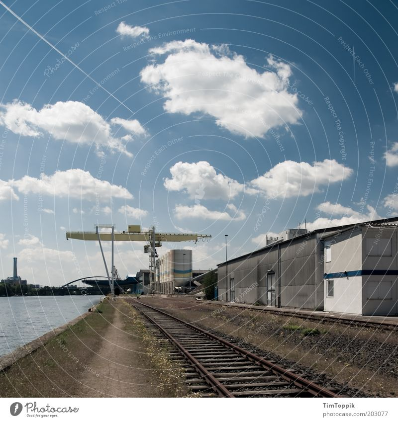 Blue Clouds Logistics Industrial Photography Harbour Railroad tracks Frankfurt Main Production Industrial plant Blue sky Vapor trail Dockside crane