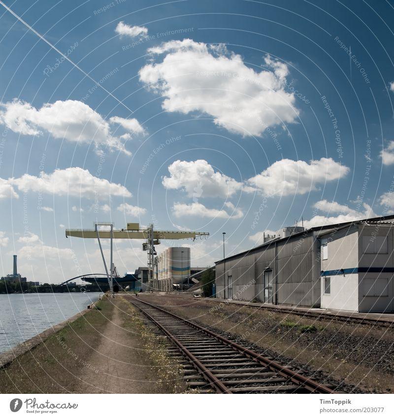 Blue Clouds Logistics Industrial Photography Harbour Railroad tracks Frankfurt Main Production Industrial plant Blue sky Vapor trail Dockside crane