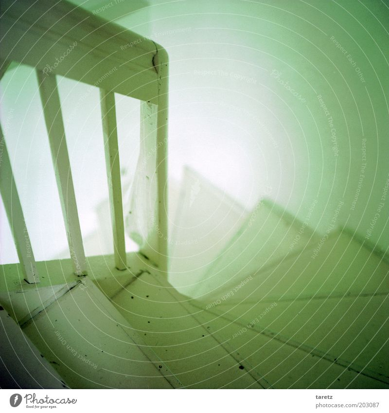 smell the coffee downstairs Stairs Old Staircase (Hallway) Winding staircase White Wood Simple Expectation Flare Banister Descent Bright Morning Curiosity Steep