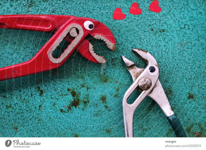 Love is... affection! Work and employment Craftsperson Workplace Construction site Services Craft (trade) To talk Tool Technology Red Turquoise Romance Desire