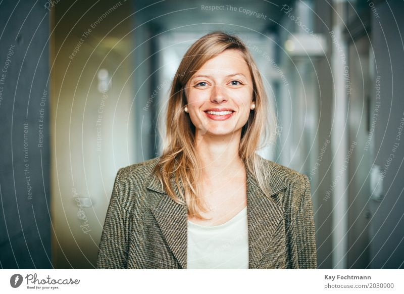 smiling blonde businesswoman Study University & College student Work and employment Profession Office work office Economy Services Media industry Business