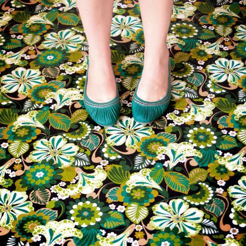 candyflip-walk Feminine Legs Feet Footwear Carpet Flowery pattern Retro Trashy Crazy Wild Multicoloured Green Colour photo Interior shot Day Turquoise Woman