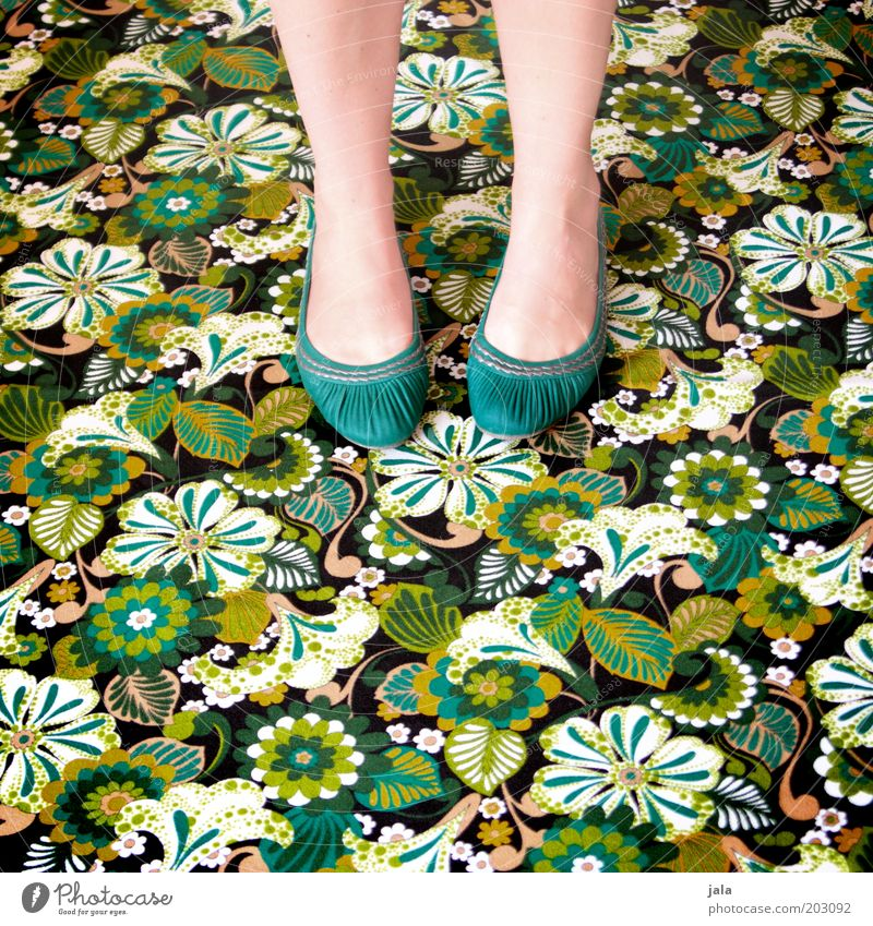 Woman Green Feminine Feet Footwear Legs Crazy Human being Retro Floor covering Wild Trashy Turquoise Carpet Structures and shapes Pattern
