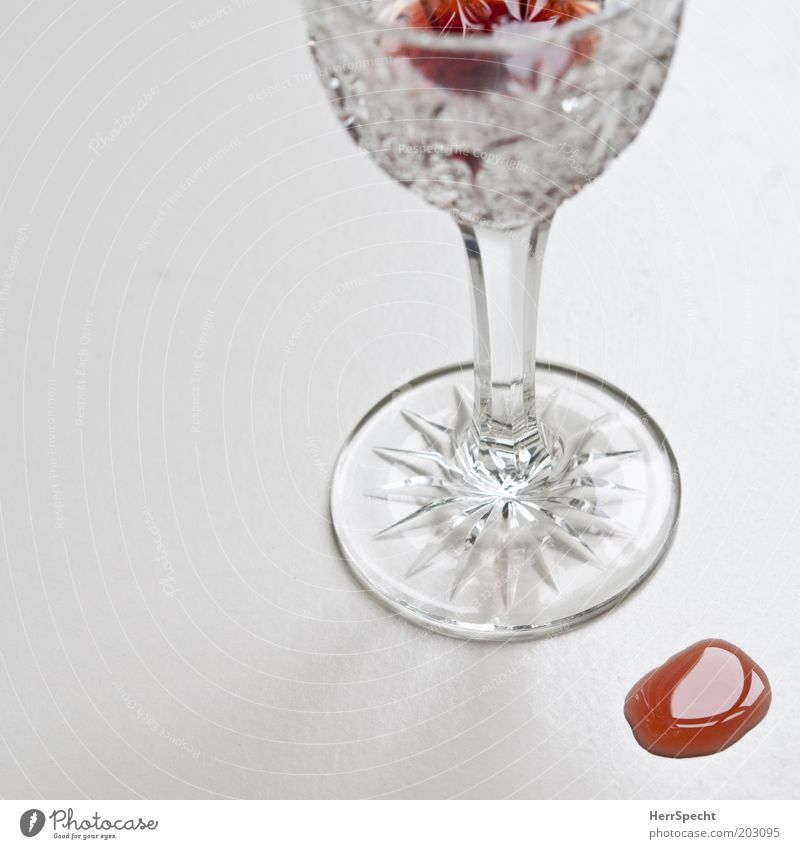 Who has worries, has also liqueur Beverage Alcoholic drinks Liquer Liqueur glass Glass Red White Ground down Spill Remainder Lead crystal Colour photo