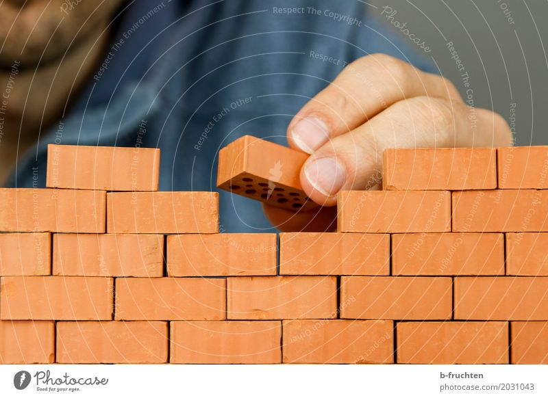 Man Hand House (Residential Structure) Adults Wall (building) Playing Wall (barrier) Stone Work and employment Fingers Construction site Brick Craft (trade)