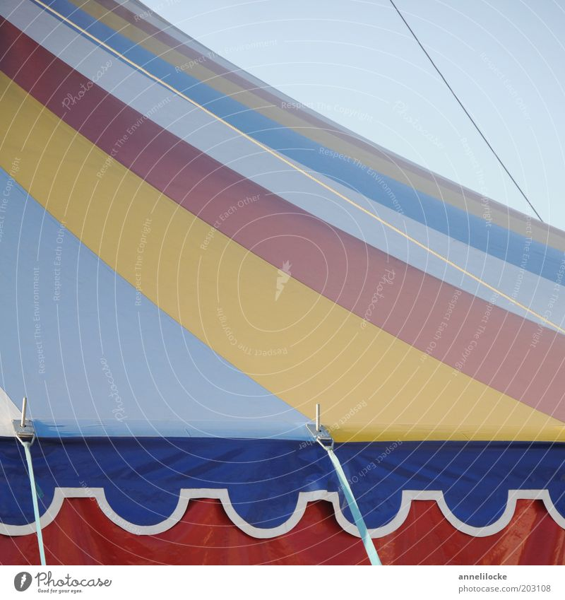 What a circus! Tarpaulin Tent Stripe Multicoloured Striped Pattern Abstract Circus tent Rope Contrast Colour photo Detail Day Infancy Roof Deserted