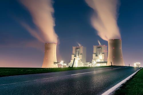 lignite-fired power station Energy industry Coal power station Climate change Industrial plant Chimney Street Large Blue Green Violet Pink Squander Environment