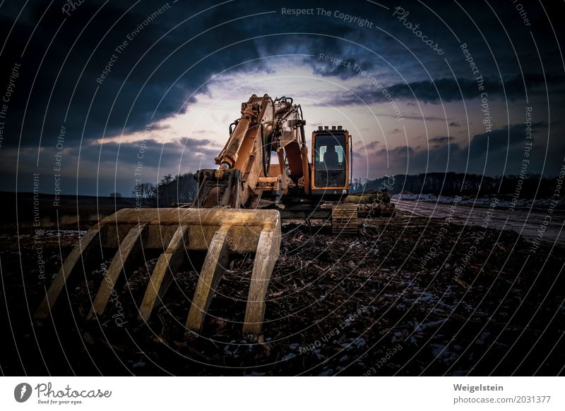 Blue Yellow Brown Orange Metal Dirty Energy industry Glass Industry Rust Steel Destruction Machinery Environmental pollution Dramatic Excavator