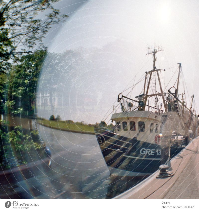 Water Ocean Relaxation Watercraft Contentment Coast Harbour Joie de vivre (Vitality) Traffic infrastructure Navigation Sail Double exposure Sailboat Lomography