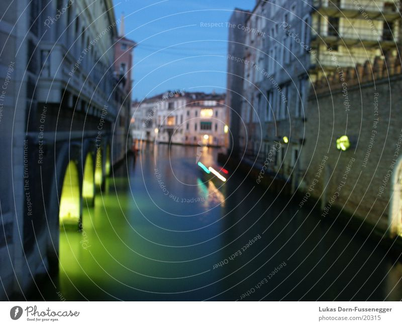 Europe Long exposure Night Venice Italy Tributary canal