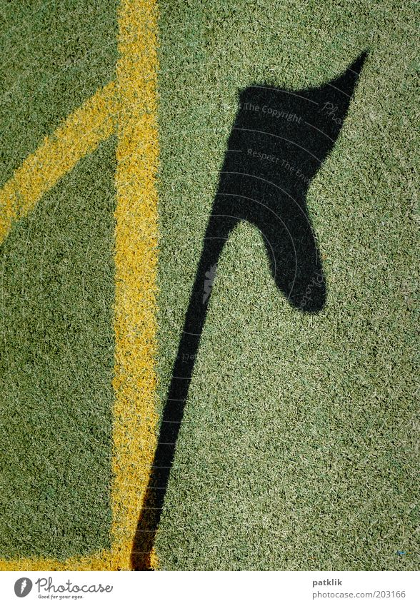 shadowy existence Sports Soccer Clean Green Black Flag corner flag Shadow Corner Artificial lawn Yellow Line Blow Rod Playing field Boundary Grass Lawn